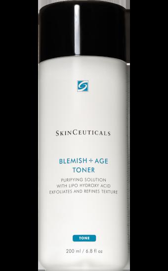 SkinCeuticals Blemish + Age Toner:  Lotion tonique purifiante pour les peaux matures à imperfections. Aide à éliminer les résidus et les cellules superficielles pour déboucher les pores.