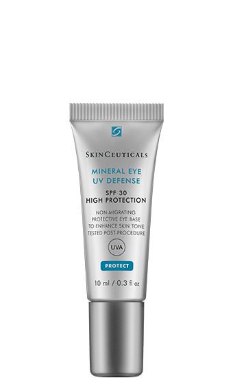 Mineral Eye UV Defense SPF 30:   Soin solaire haute efficacité formulé spécifiquement pour protéger en douceur la zone délicate du contour des yeux.
