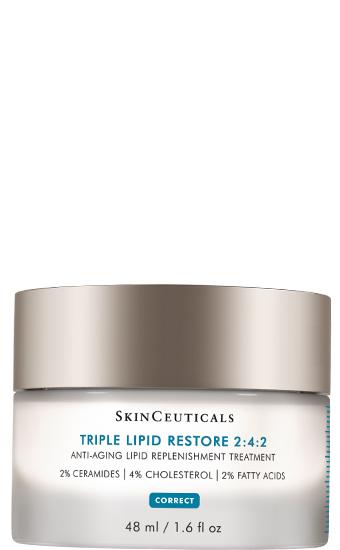 Triple Lipid Restore 2:4:2:   Crème concentrée d'actifs lipidiques réparateurs qui permettent de renforcer la barrière cutanée, lisser le grain de peau, atténuer l'apparence des pores et le relâchement cutané, booster l'éclat du teint.